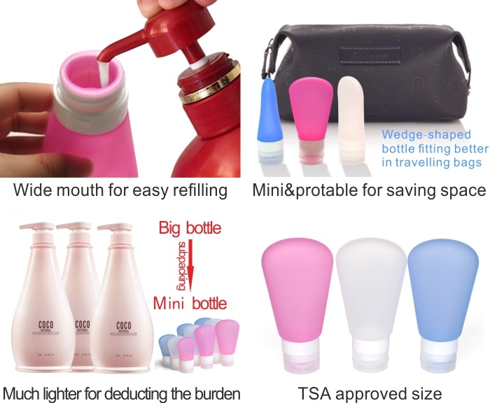 Custom Leak-proof Silicone Trave Liquid Lotion Bottles 2oz BMD0316