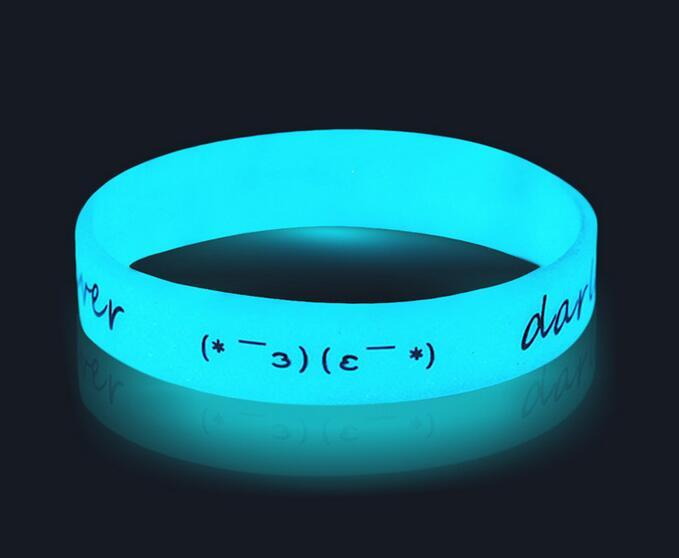 Promotional Silkscreen Glow In Dark Silicone Wristbands