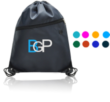 Drawstring Backpack With Zipper Pocket And Earphone Hole