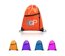 Promotional Drawstring Backpack With Earbud Hole Zippered Pocket