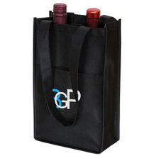 Printed Logo Non-woven Two Packed Bottles Wine Tote Bag